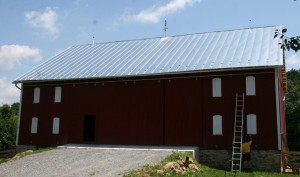 A new standing seam metal roof (galvanized) on this recently restored barn in Dickerson MD.