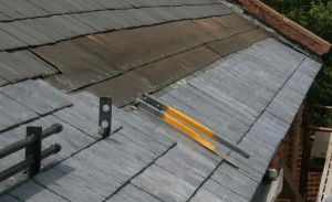 Major slate roofing repairs to a church roof in downtown Frederick, MD