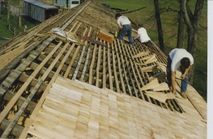 """Skip Sheathing"" (nailer strips) are installed ahead of the Cedar Shingles.           Utica covered bridge. Utica, Maryland."